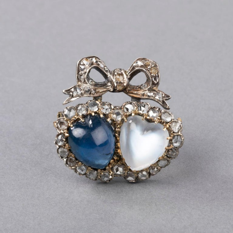 Antique Victorian Double Hearts Sapphire and Moon Stone Brooch For Sale 6