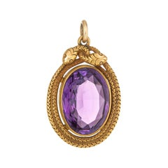 Antique Victorian Double Snake Pendant 18 Karat Gold Amethyst Large Oval Fine