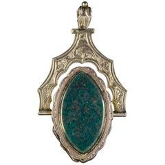 Antique Victorian Double Swivel Locket 9 Carat Gold Carnelian Jasper, circa 1880