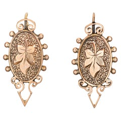 Antique Victorian Drop Earrings Etched Leaf 10k Rose Gold Vintage Jewelry