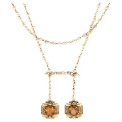 Antique Victorian Drop Necklace 14k Gold Citrine Seed Pearls Vintage Jewelry