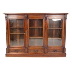Antique Victorian East Lake 3 Door Bookcase Display Cabinet, America 1880, B2564