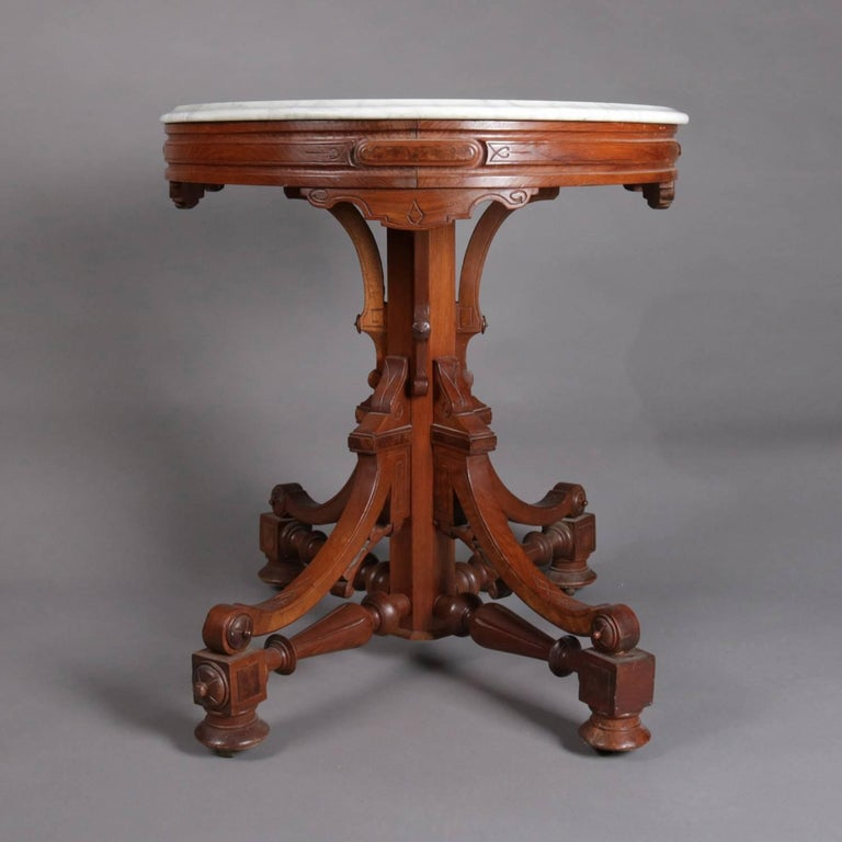 Antique Victorian Eastlake Carved Walnut And Marble