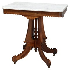 Antique Victorian Eastlake Carved Walnut & Beveled Marble Side Table, circa 1880