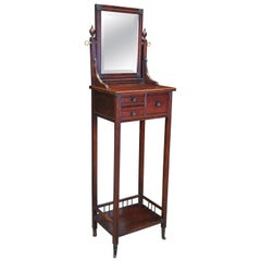 Antique Victorian Eastlake Mahogany Gentleman's Shaving Stand with Mirror
