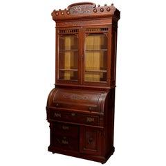 Antique Victorian Eastlake Walnut Barrel Roll Secretary Desk, circa 1890