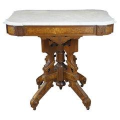 Antique Victorian Eastlake Walnut Burl Carved Marble Top Parlor Side Table