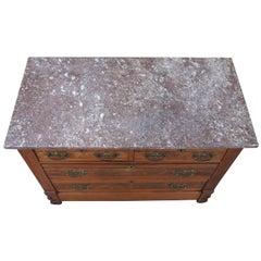 Antique Victorian Eastlake Walnut Burl Granite Wash Stand Dresser Chest Drawers