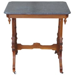 Antique Victorian Eastlake Walnut Granite Top Parlor Side End Accent Table