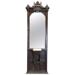 Antique Victorian Eastlake Walnut Pier Hall Mirror with Marble Shelf