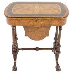 Antique Victorian Ebonized, Burr Walnut, Sewing Basket, Scotland 1870, B2141