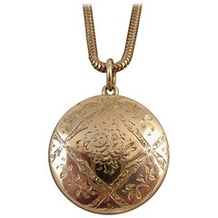 Antique Victorian/Edwardian Gold Locket with Compass, C1900s, Twin Portraits