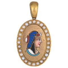 Antique Victorian Egyptian Revival Cleopatra Pendant 18 Karat Yellow Gold Enamel