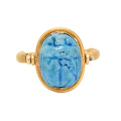 Antique Victorian Egyptian Revival Faience Scarab Spinner Ring