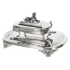 Antique Victorian Egyptian Revival Silver Plate Ink Well Stand, 19th Century