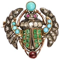 Antique Victorian Egyptian Revival Winged Scarab Brooch