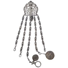 Antique Victorian Electro Plated Nickel Silver Chatelaine with Accessories