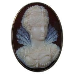 Antique Victorian Elizabethan Princess Hard Stone Cameo Brooch