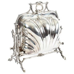 Victorian Elkington & Co. Silver Plated Shell Folding Biscuit Box 19th Century
