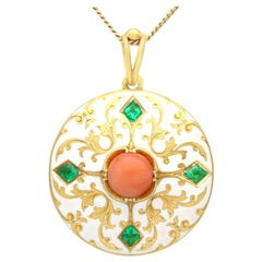 Antique Victorian Emerald Coral and Enamel Yellow Gold Locket