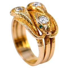 Antique Victorian Emerald, Diamond and Gold Snake Ring