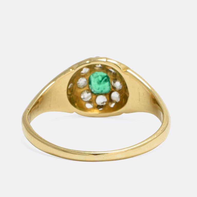 Antique Victorian Emerald Diamond Cluster Ring In Excellent Condition For Sale In Sale, Cheshire