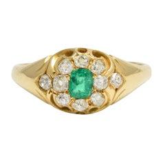 Antique Victorian Emerald Diamond Cluster Ring