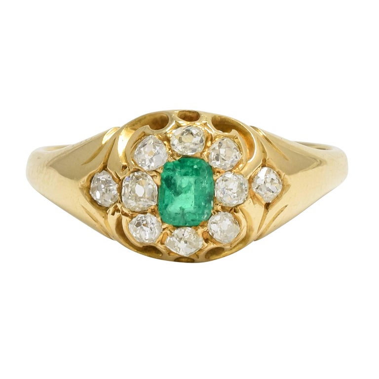 Antique Victorian Emerald Diamond Cluster Ring For Sale