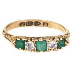 Antique Victorian Emerald Diamond Ring c1896 18k Yellow Gold Chester Band 7.25