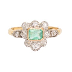 Antique Victorian Emerald Diamond Shield Cluster Ring