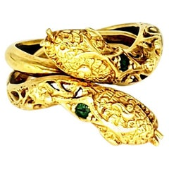 Antique Victorian Emerald Double Snake Ring 750 Gold
