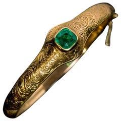 Antique Victorian Emerald Engraved Gold Bangle Bracelet