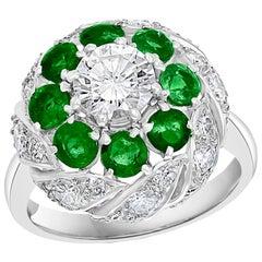 Antique Victorian Emerald and Solitaire Diamond Ring in Platinum Estate