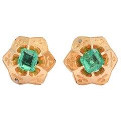 Antique Victorian Emerald Star Stud Earrings