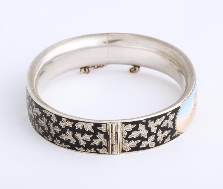 Women's Antique Victorian Enamel and Silver Chrerub Bracelet For Sale