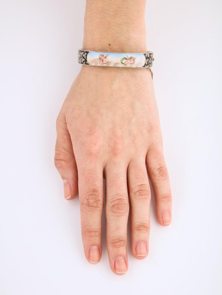 Antique Victorian Enamel and Silver Chrerub Bracelet For Sale 1