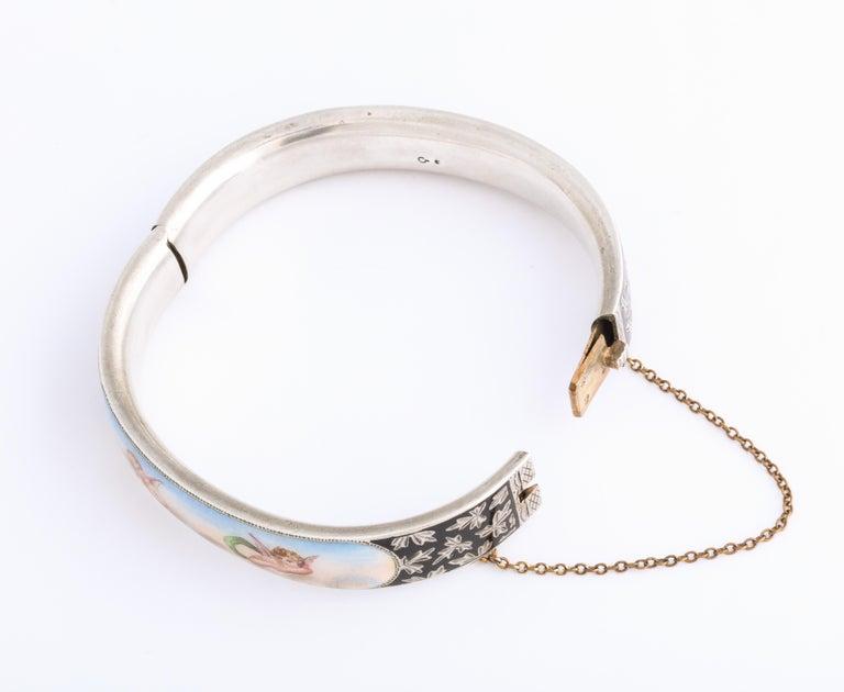 Antique Victorian Enamel and Silver Chrerub Bracelet For Sale 2