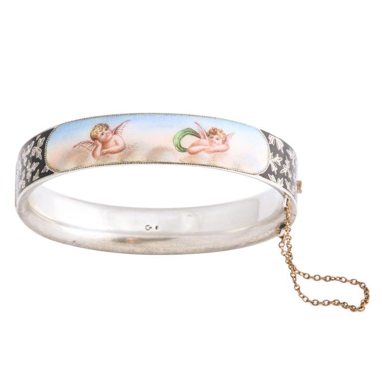 Antique Victorian Enamel and Silver Chrerub Bracelet For Sale