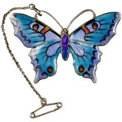 Antique Victorian Enamel Butterfly Silver, circa 1900