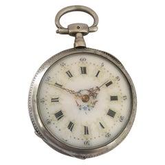 Antique Victorian Enamel Inlaid Key-Wind Pocket Watch