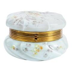 Antique Victorian Enamel Painted Wavecrest Art Glass Dresser Jar