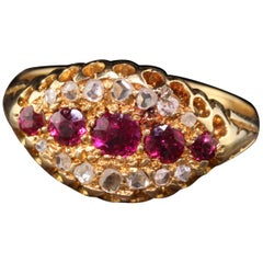 Antique Victorian English 18 Karat Yellow Gold Ruby and Rose Cut Diamond Ring