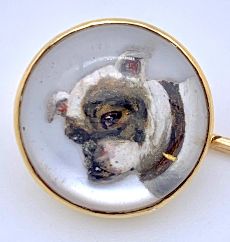 Cabochon Antique Victorian English Essex Crystal Gold Dog Pug Stickpin For Sale