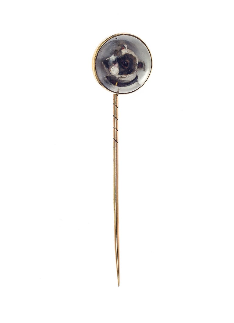 Women's or Men's Antique Victorian English Essex Crystal Gold Dog Pug Stickpin For Sale