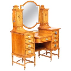 Victorian English Satinwood and Tulipwood Inlaid Dressing Table, 19th Century