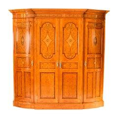Antique Victorian English Satinwood and Tulipwood Wardrobe 19th Century