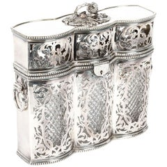 Antique Victorian English Silver Plated 3 Bottle Tantalus, 19th Century