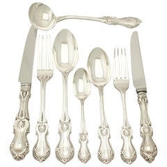 Antique Victorian English Sterling Silver Canteen of Cutlery for Eight Persons