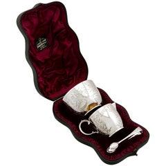 Antique Victorian English Sterling Silver Cream and Sugar Presentation Set