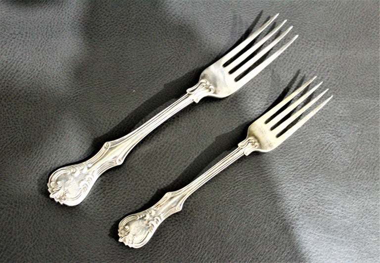 George Adams Antique Victorian English Sterling Silver Flatware Set   For Sale 1